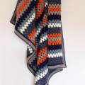 Retro Crocheted Granny Stripe Blanket | Ready to Ship | Wool Blanket