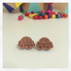 Laser Cut Wooden Car Earrings
