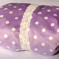 Pale Purple w Small White Polka Dots in Minky, Baby Change Table Cover,