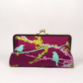 Sparrows in lilac large clutch purse