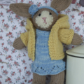 Hand knitted Marceline Bunny toy - removable clothes - baby safe