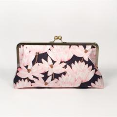 Lotus in black large clutch purse