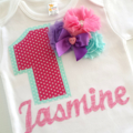 Custom Made 1st Birthday Outfit Number 1 and Name with Chiffon Flowers