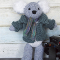 Hand knitted Kai the Koala - removable clothes - baby safe