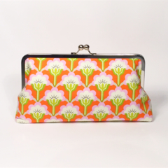 Orange squares in bloom large clutch purse