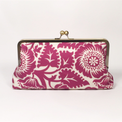 Magenta floral large clutch purse