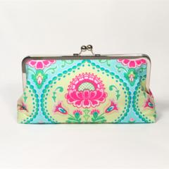 Aqua lavinia large clutch purse