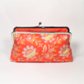Flower field in orange large clutch purse