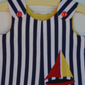 Nautical rompers - navy white stripes, sailing boat, summer boys clothes