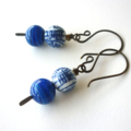Chinois Asian bead and Glass Earrings