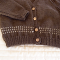 SIZE 3 (+) - Hand knitted cardigan, dark & light brown acrylic, warm, washable