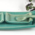 Handmade Ceramic Tapas Serving Set Stoneware Pottery Tray Condiment Dish & Spoon