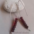 Argentium Sterling Silver & deep red Czech glass bead earrings