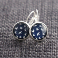 White Swallows on Navy Blue ~ Lever Back Earrings