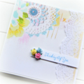 THINKING OF YOU card white lace vintage doily print paper roses pink blue yellow