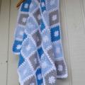 crochet baby blanket   bright blue, pastel blue, grey, white   baby shower gift