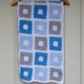 crochet baby blanket | bright blue, pastel blue, grey, white | baby shower gift