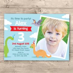Personalised boys Birthday Printable photo Invitation (Digital File) Dinosaurs