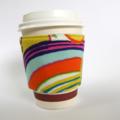 Coffee Cup Cuff - Green Apples & Rainbow