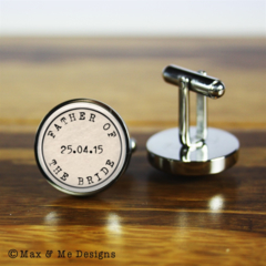 Personalised wedding cufflinks - A gift for the Father of the Bride