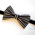 Classic black / white bow stretch headband