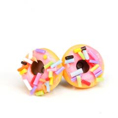 Pastel pink iced donut stud earrings - with long sprinkles