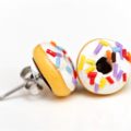White iced donut stud earrings - with long sprinkles