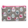 Bird Cages on Grey Zip Pouch / Zippered Case / Zipper Bag