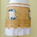 VINTAGE LACE APRON, Caramel and White, Hand Embroidered Doilies