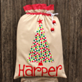Linen/Spot Santa Sack