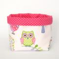 Fabric Storage Basket - Birds / Owls / Trees