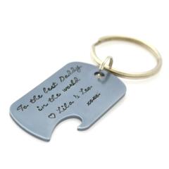 Handstamped Bottle Opener Keyring - Personalised gift for Dad