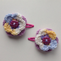 Girls Crochet Hair Clip | Accessory | Pair of Flower Hairclip | Hand Crocheted