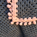 Crochet Baby Blanket  Grey and Apricot Pom Pom