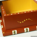 Box, trinket, jewellery, hand painted, hand-made polymer clay tiles, gold inner