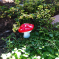 fairy garden miniature rabbit, toadstool and frog