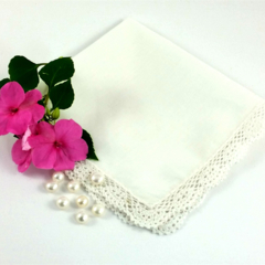 Wedding Bridal Hanky, Handkerchief, Ready for Your Own Words to be Embroidered .