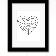 geo heart print