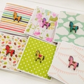 6 Blank cards, gift tags pony horse wooden, fun bright prints with envelope