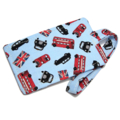 London Bus and Car on Blue Fabric Luggage Tag Bag Tag