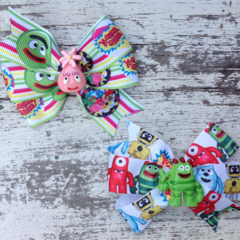"3.5"" Yo Gabba Gabba Bow Hair Clips"