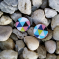 Triangle Geo Wood Stud - Turquoise/Pink/Navy