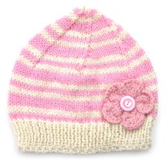 Womens / Ladies Pink Cream Stripe Knitted Wool Beanie Hat - Adults