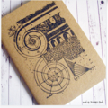 Ancient Column Architecture - Hand Stamped Blank Page Journal Notebook