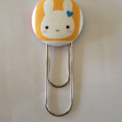 Cute Bunny Button Paperclip Bookmark