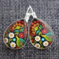 Gypsy Floral~ Teardrop Lever Back Earrings