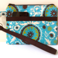 Brown and Blue Suzani Circle Design Wristlet Pouch Purse
