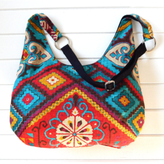 Hobo Bag Purse in Colourful Aztec-style Fabric for Ladies