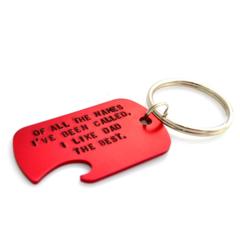 Handstamped Bottle Opener Keyring, Red - Personalised gift for Dad