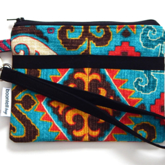 Wristlet Pouch Purse in Colourful Aztec-style fabric